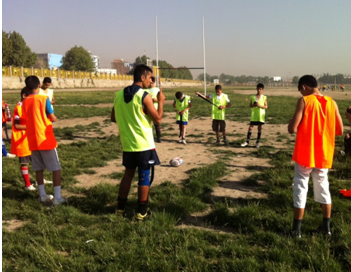 Khanjer with his Khelo Rugby Children