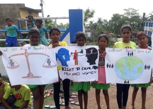 Children displaying their knowledge on gender equality